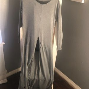 One piece grey outfit.